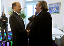 Renowned French actor Gerard Depardieu visits Baku, Minister of Culture and Trusim of the Republic of Azerbaijan Abulfaz Qarayev, Baku, Azerbaijan, Dec.13, 2010