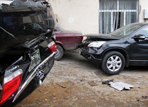 As a result of the accident a KAMAZ vehicle turned over, which, damaged five parked cars. Baku, Azerbaijan, Jan.11, 2012