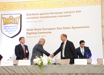 The consortium of Azerbaijani Shah Deniz gas and condensate field development signed contracts with the buyers of Azerbaijani gas in Europe. Baku, Azerbaijan, Sep.19, 2013