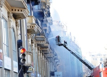 Fire in Sahil large shopping mall. Baku, Azerbaijan, March 12, 2014