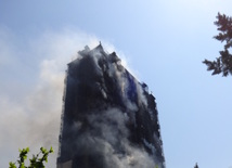 The fire in a multi-storey building in Azadlig Avenue in Baku has already been extinguished. Azerbaijan, May 19, 2015