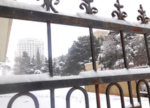 Snowy landscapes in Baku