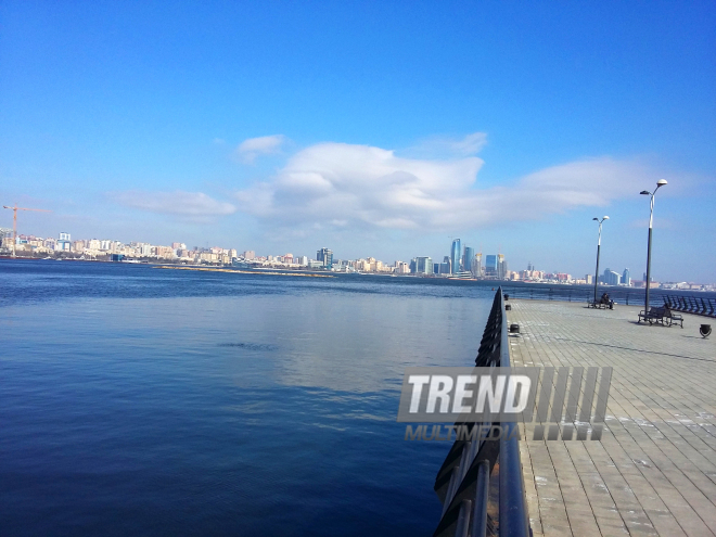 Sea, sky and Baku Boulevard. Azerbaijan, Feb.6, 2017