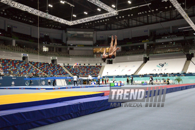 Athletes at trainings for World Cup in Trampoline Gymnastics and Tumbling. Baku, Azerbaijan. Feb.11 2017