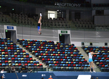 Athletes at trainings for World Cup in Trampoline Gymnastics and Tumbling.