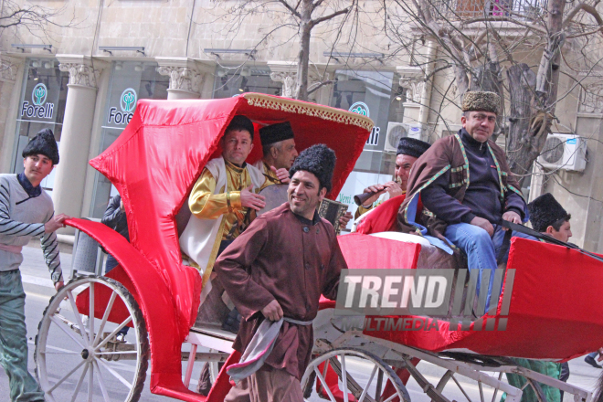 Novruz holiday caravan on Baku streets. Azerbaijan, 14 march, 2017