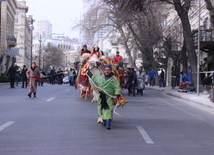 Novruz holiday caravan on Baku streets