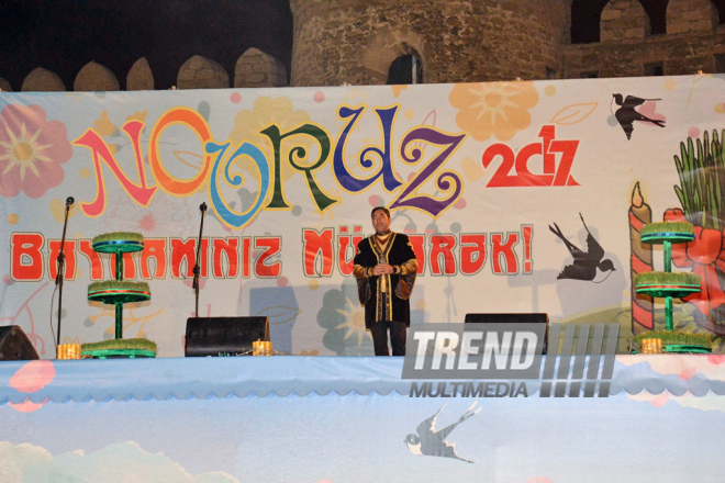 Concert and salute dedicated to main stage of Novruz holiday - last pre-holiday Tuesday. Baku,  Azerbaijan, 14 march, 2017