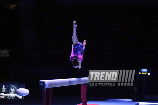 Podium training starts for Baku World Cup in artistic gymnastics. Azerbaijan, 15 march, 2017
