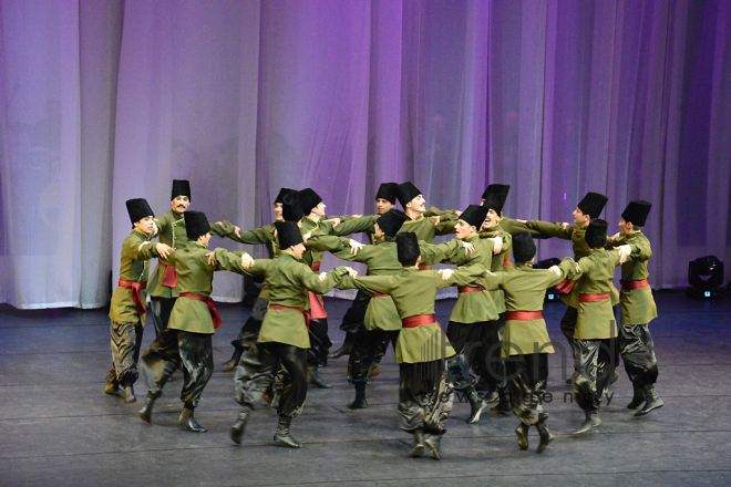 Performance of State Dance Ensemble of the Azerbaijan State Philharmonic Hall named after Muslim Magomayev at the opening ceremony of the first Baku Shopping Festival. Azerbaijan, 10 april, 2017