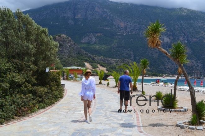 Ölüdeniz national park (Blue Lagoon) - at the intersection point of the Aegean Sea and the Mediterranean Sea. Turkey, Fethiye, June 29, 2017