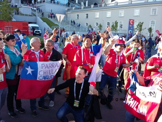 Chile, Germany teams fans before final match of FIFA Confederations Cup at St. Petersburg Arena stadium. Russia, 2 july, 2017