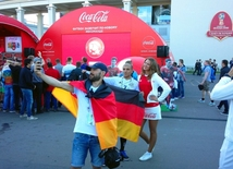 Chile, Germany teams fans before final match of FIFA Confederations Cup at St. Petersburg Arena stadium