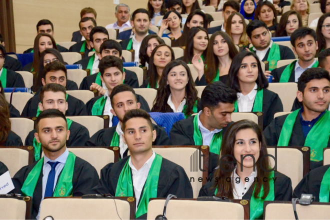 First graduation ceremony at Baku Higher Oil School. Azerbaijan, Baku, 14th July, 2017