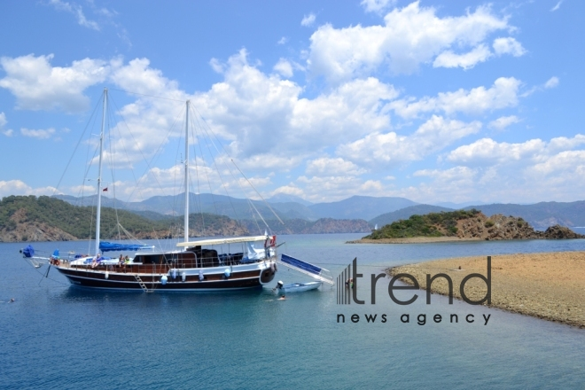 Trip through islands of Aegean Sea. Turkey, Fethiye, July 17th, 2017