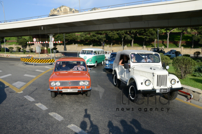 At a parade of classic cars in Baku. Azerbaijan, Baku, august 26, 2017