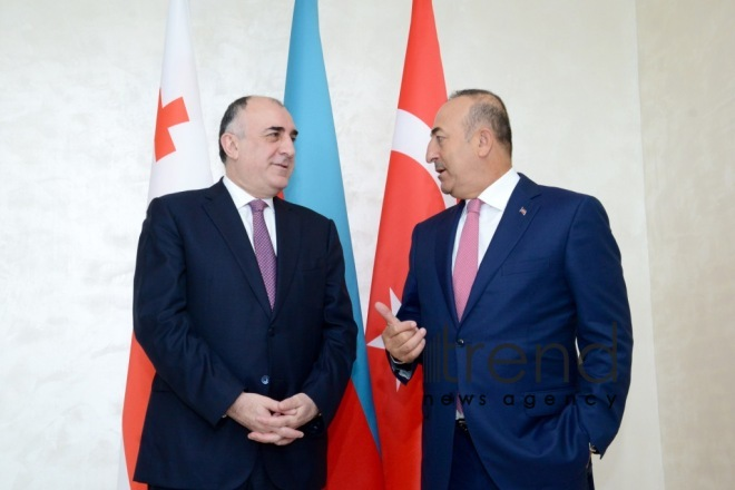 Azerbaijani, Georgian, Turkish FMs hold tripartite consultations in Baku. Azerbaijan, september 6, 2017