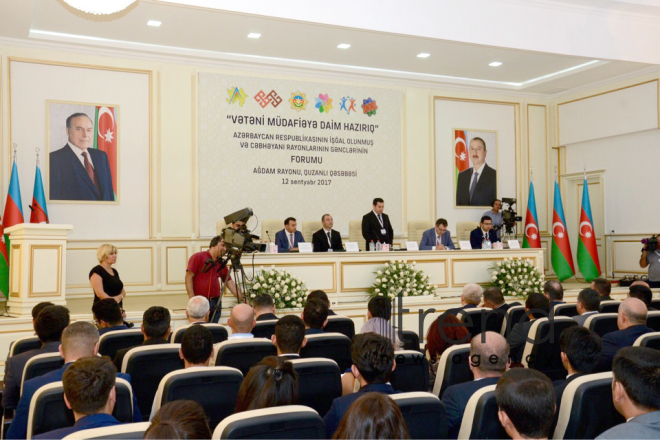Aghdam hosts forum for youth of occupied and frontline districts of Azerbaijan. Azerbaijan, september 12, 2017