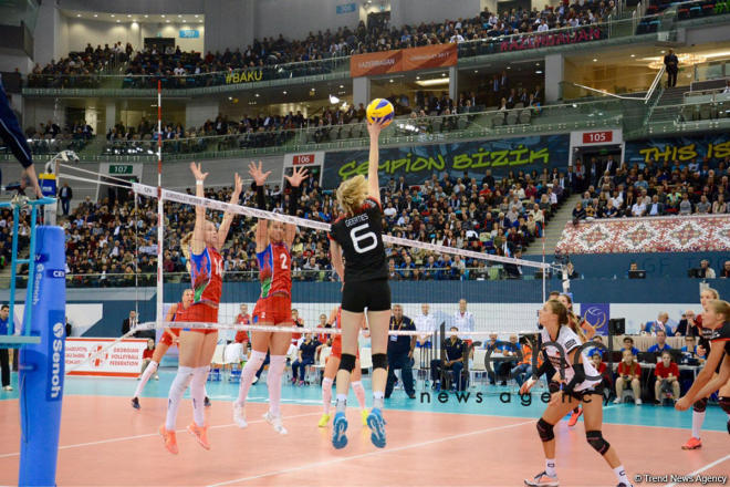 Azerbaijan's volleyball squad defeats German team at European championship. Azerbaijan, Baku, September 29, 2017