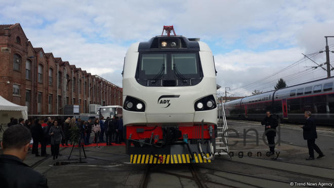 Alstom presents first passenger locomotive for Azerbaijan. Belfort, France, october 9, 2017
