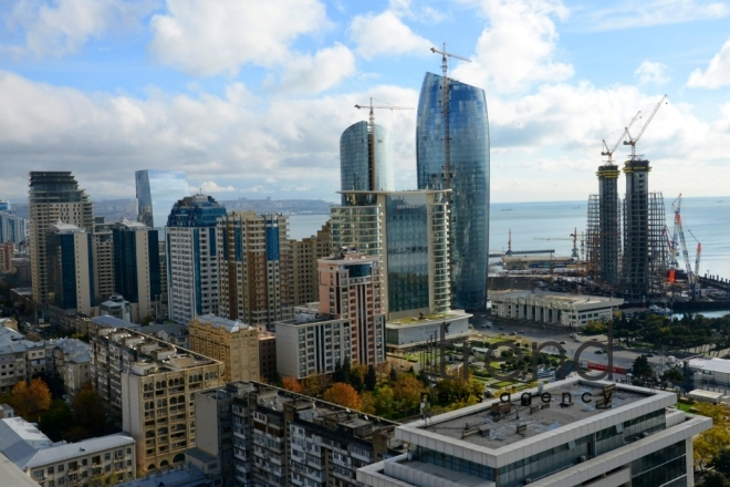 Panoramic views of Baku. Azerbaijan, Baku, december 26, 2017