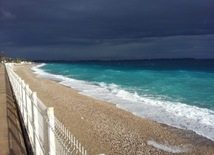 On shores of Mediterranean Sea in winter