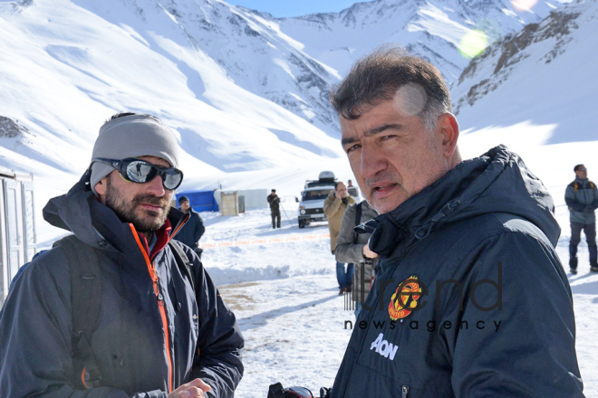 Azerbaijani Ministry of Emergency Situations searching for missing mountaineers in mountains of Guba district. Azerbaijan, Guba, january 9, 2018