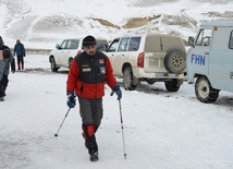 Azerbaijani Ministry of Emergency Situations searching for missing mountaineers in mountains of Guba district