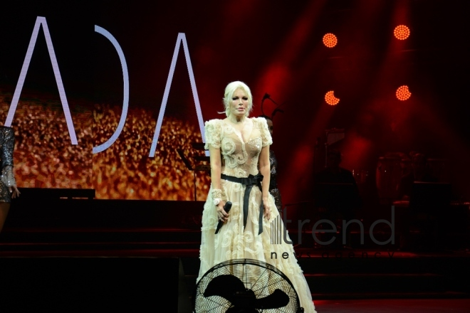 71-years-old Turkish superstar Ajda Pekkan gave concert in Baku. Azerbaijan, Baku, january 15, 2018