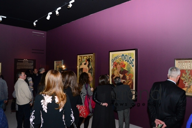 "An exhibition entitled ""Alphonse Mucha: in search of beauty"" has opened at the Heydar Aliyev Center. Azerbaijan, Baku, february 17, 2018"