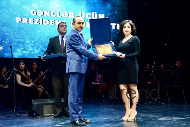A ceremony presenting the 2018 Presidential Awards to Youth. Azerbaijan, Baku, february 2, 2018