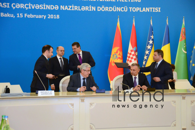 Azerbaijan, Albania sign letter of intent at SGC Advisory Council's meeting. Azerbaijan, Baku, february 15, 2018