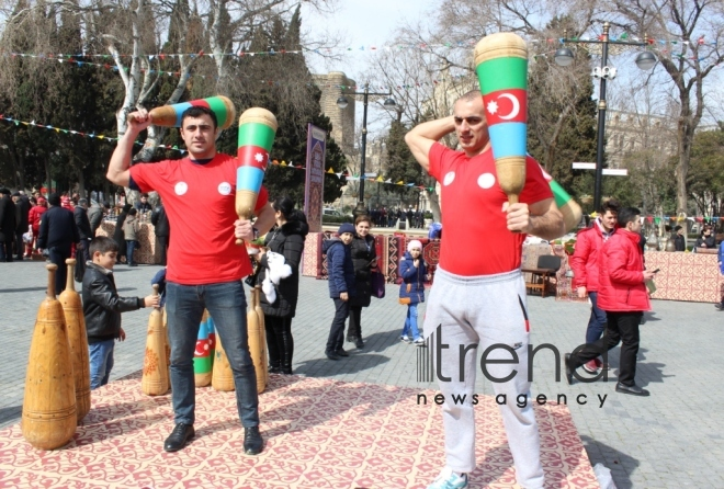 Baku residents, guests celebrating Novruz holiday. Azerbaijan, Baku, march 19, 2018