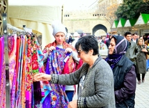 Tourists in Baku celebrating Novruz holiday