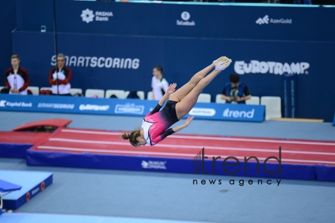 Best moments of 26th European Championships in Trampoline, Double Mini-Trampoline and Tumbling in Baku.Azerbaijan, Baku, april 13 2018