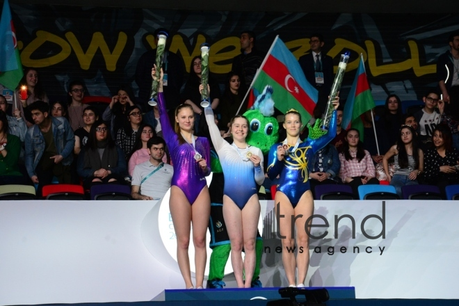 Baku hosts closing ceremony of 26th European Trampoline Championships. Azerbaijan, Baku, april 15  2018