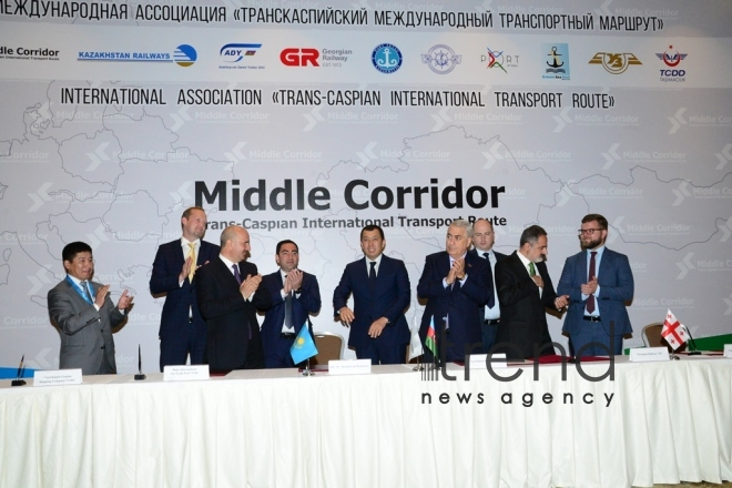 Participants of Trans Caspian International Route approve new tariffs in Baku . Azerbaijan, Baku, may 8. 2018