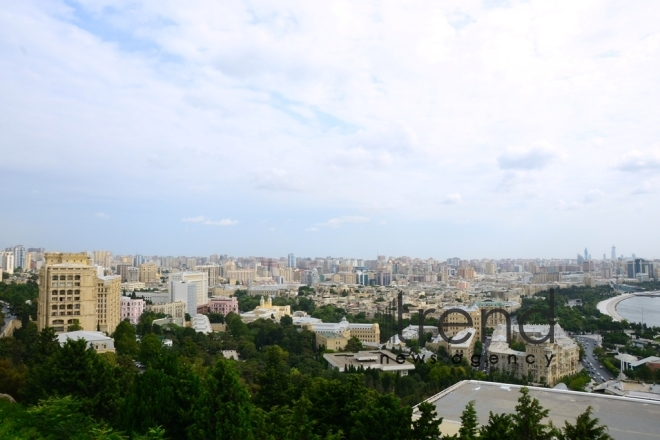 Highland Park with magnificent view of Baku city.Azerbaijan, Baku, august 6 , 2019
