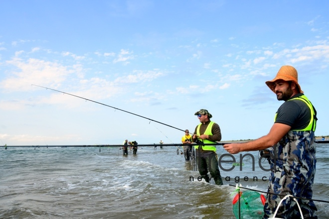 Fishing tournament held in Absheron National Park.Azerbaijan, Baku, осtober 6  2019.